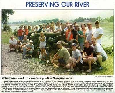 Since 1984 Sunken Treasure has been organizing  river cleanups and can't thank those who have helped enough.   Click here to view larger image