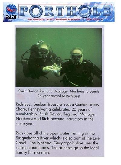 Regional Manger for PADI stopped to recognize Rich Best for 25 years service with PADI.   Click here for larger image