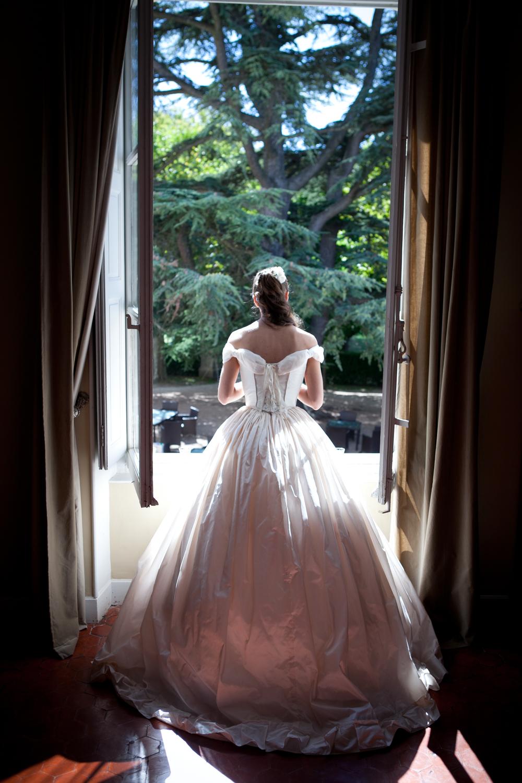 Robe de mariée crinoline en taffetas de soie