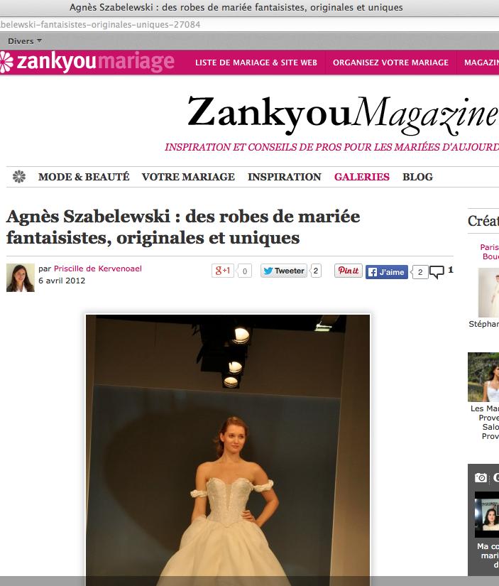 Article paru dans le magazine Zankyou sur Agnès Szabelewski