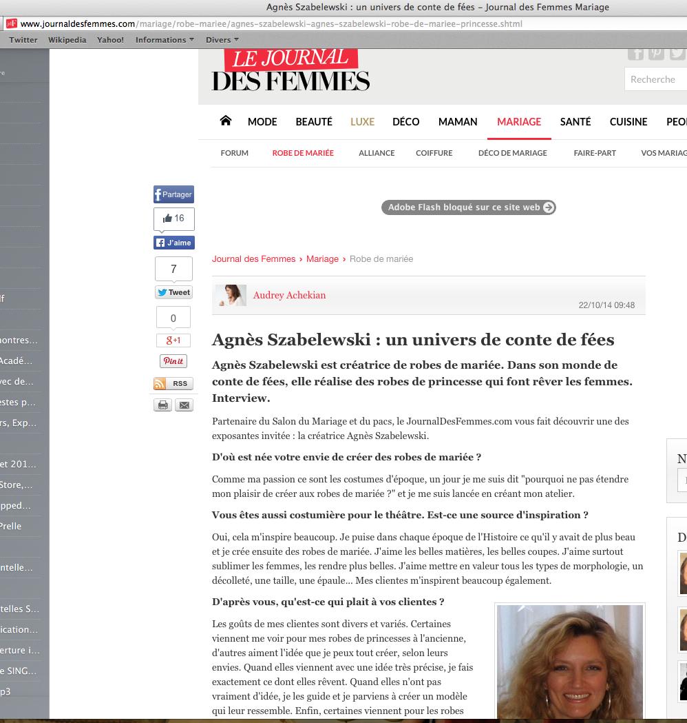 Interview d'Agnès Szabelewski dans le Journal des Femmes