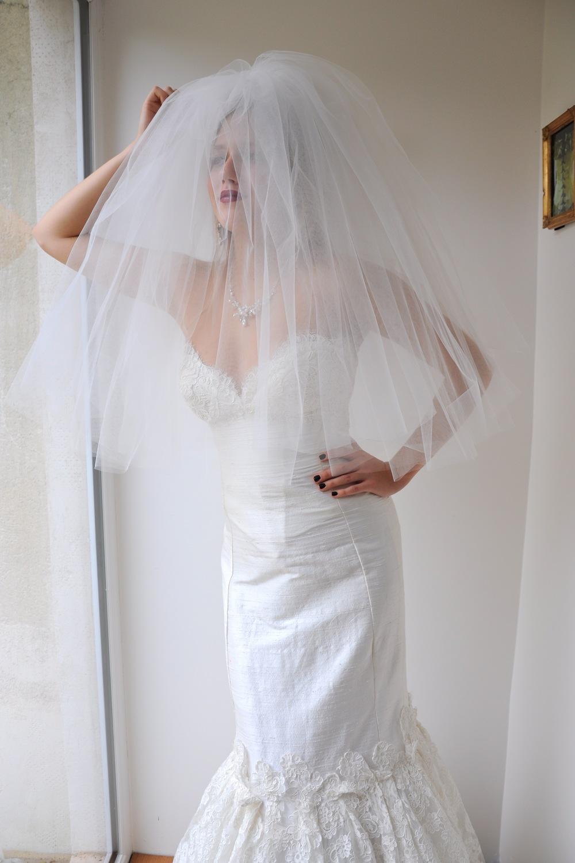 Voile de mariée court double sur mesure