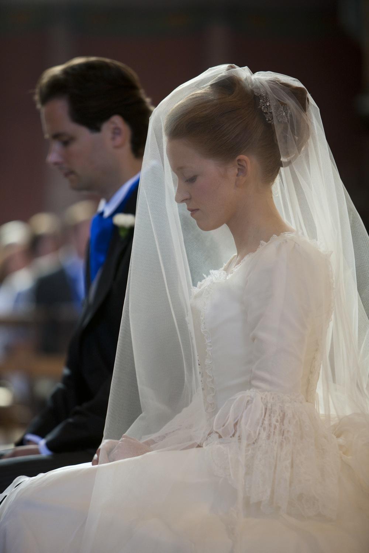 Voile de mariée long en tulle fin un couche non froncée sur mesure