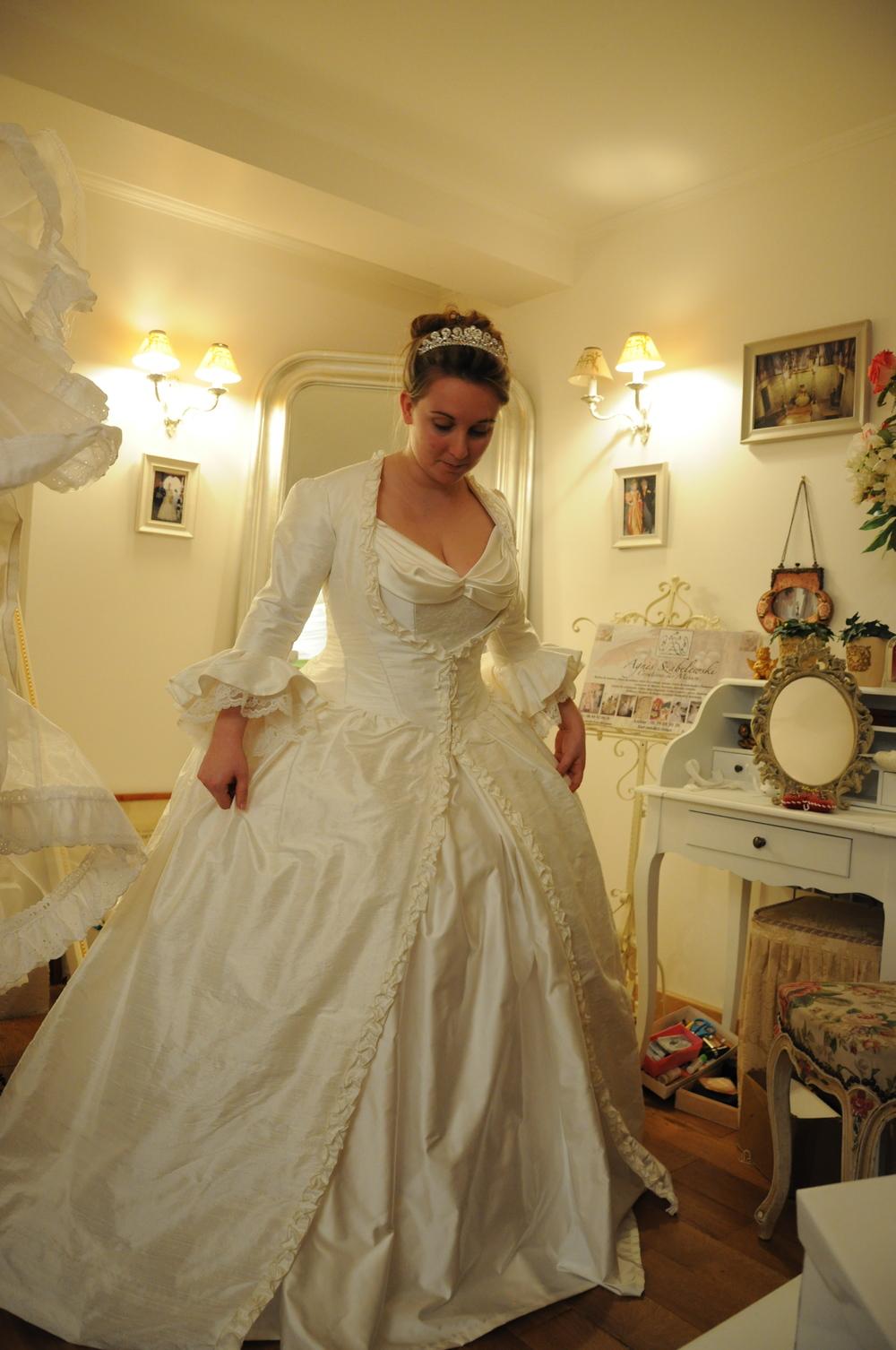 Manteau de mariée en soie sauvage style 18e