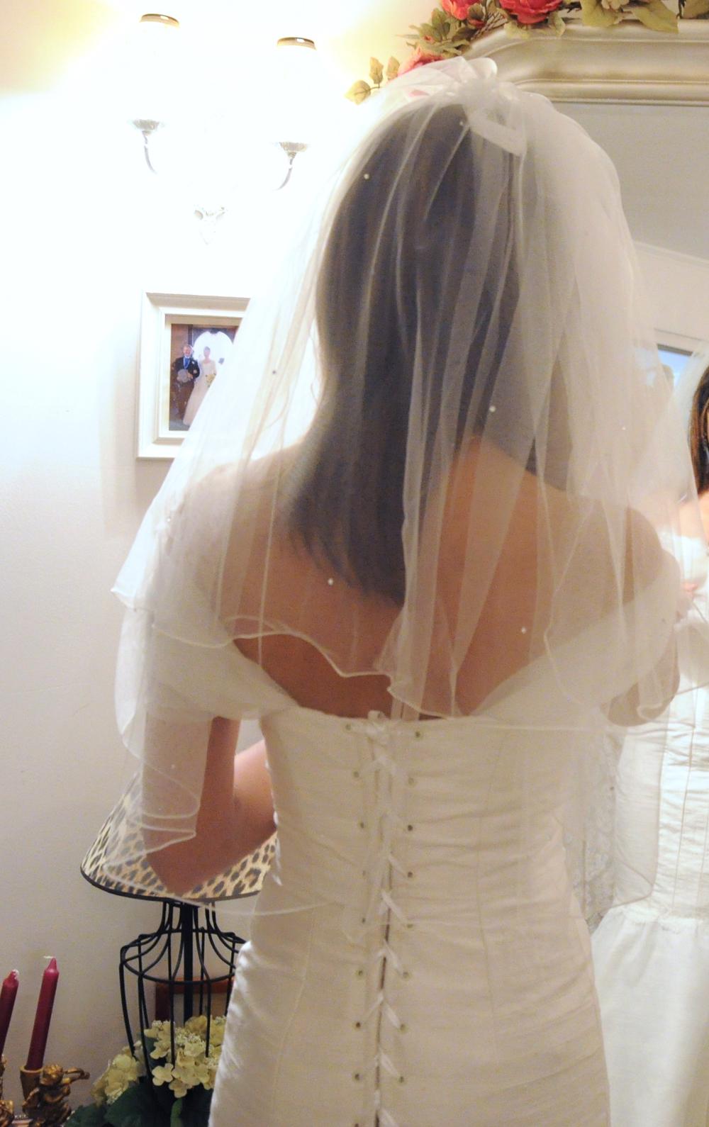 Voile de mariée en prêt-à-porter décoré de petits strass Svarowski