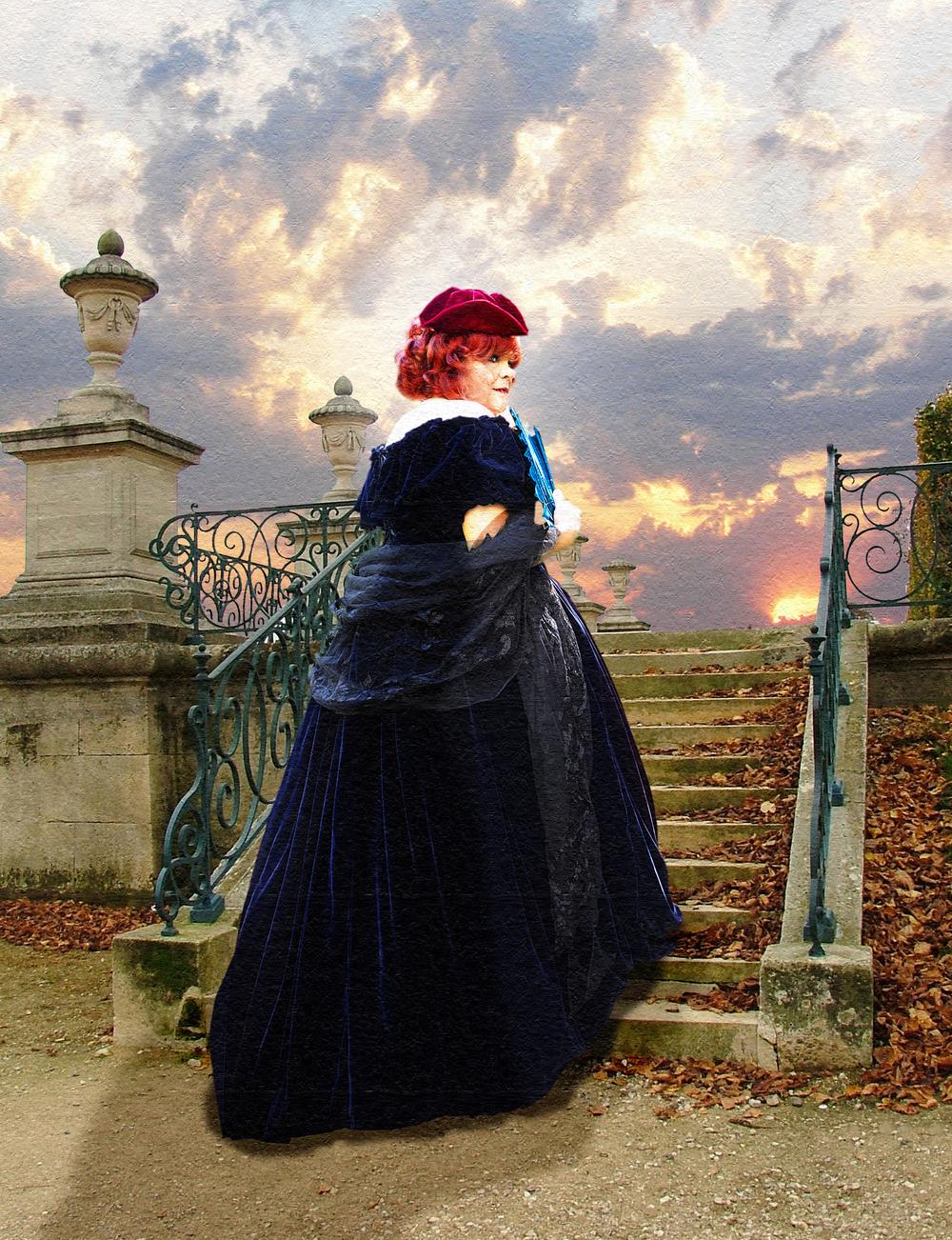 Robe La Traviata en velours marine