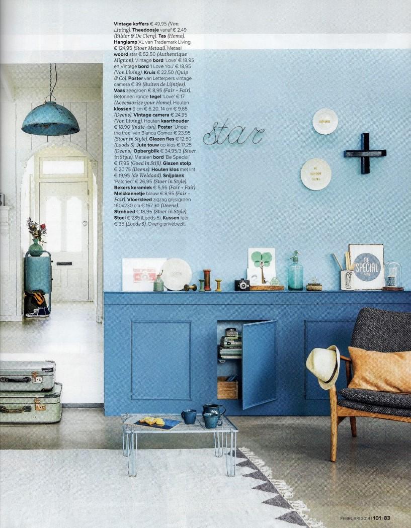 101 woonideeen februari 2014 best of the past industrial vintage - Keuken blauw en wit ...
