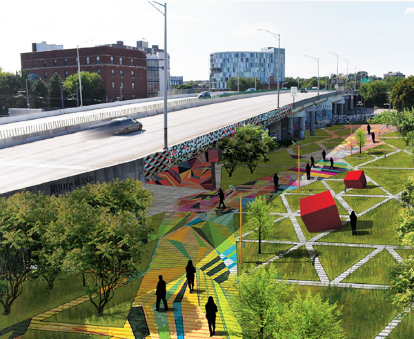 Artist's conceptualization of what the Section 1 Urban Arts Park might look like as its development rolls out in phases, starting with Artscape 2015.