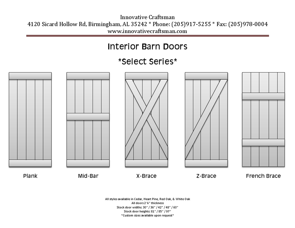 Our Select Series Barn Doors  Also available in custom designs.