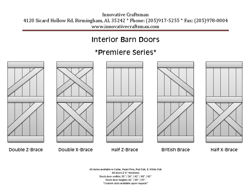 Our Premiere Series Barn Doors  Also available in customer designs.