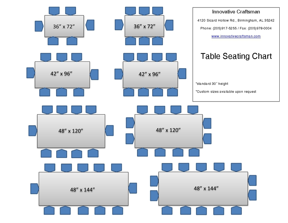 Table Seating Chart Also available in custom sizes