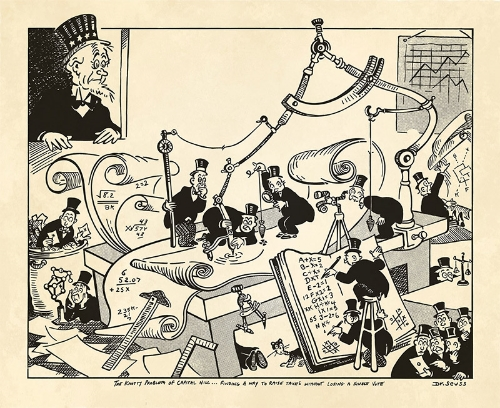 One of Dr. Seuss's WWII Cartoons for PM, The Knotty Problem of Capitol Hill... Finding a Way to Raise Taxes Without Lose a Single Vote.