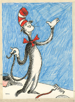 """""""The Cat that Changed the World"""", a fine art print re-produced from one of Seuss's preliminary drawings for The Cat in the Hat."""