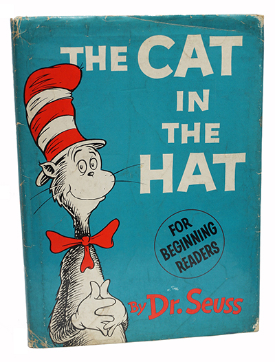 Image: First edition copy of The Cat in the Hat, 1957.