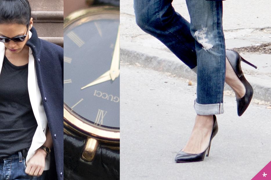 Jacket: A.P.C. White Blazer: Topshop. Black shirt: T by Alexander Wang. Jeans: Citizens of Humanity. Shoes: Zara. Watch: Gucci. Sunnies: Saint Laurent.