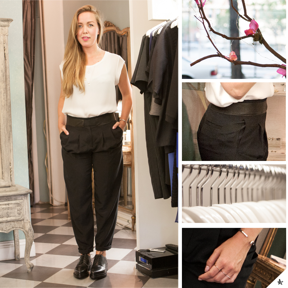 Top: 3.1 Phillip Lim. Pants: Thakoon. (Available in store.) Shoes: Acne.