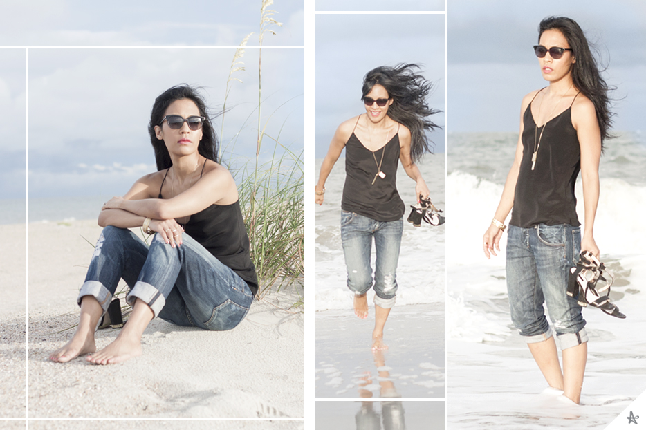 Camisole: J. Crew (old but similar here). Jeans: Citizens of Humanity. Shoes: Topshop.