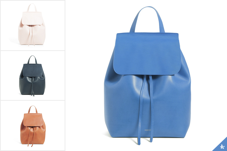 Mansur Gavriel: Main image on right in Royal.From top to bottom on left:Rosa. Blu.Brick.
