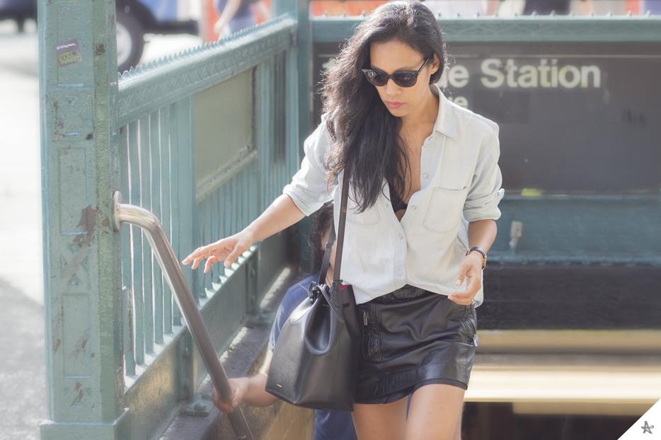 Shirt: Madewell.Skirt: Aqua (old, but similar here.) Bag: Mansur Gavriel. Sandals: J. Crew (on sale now).
