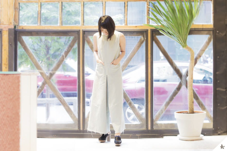 Jumpsuit and clogs online and at Rachel Comey 95 Crosby Street, New York, NY 10012.