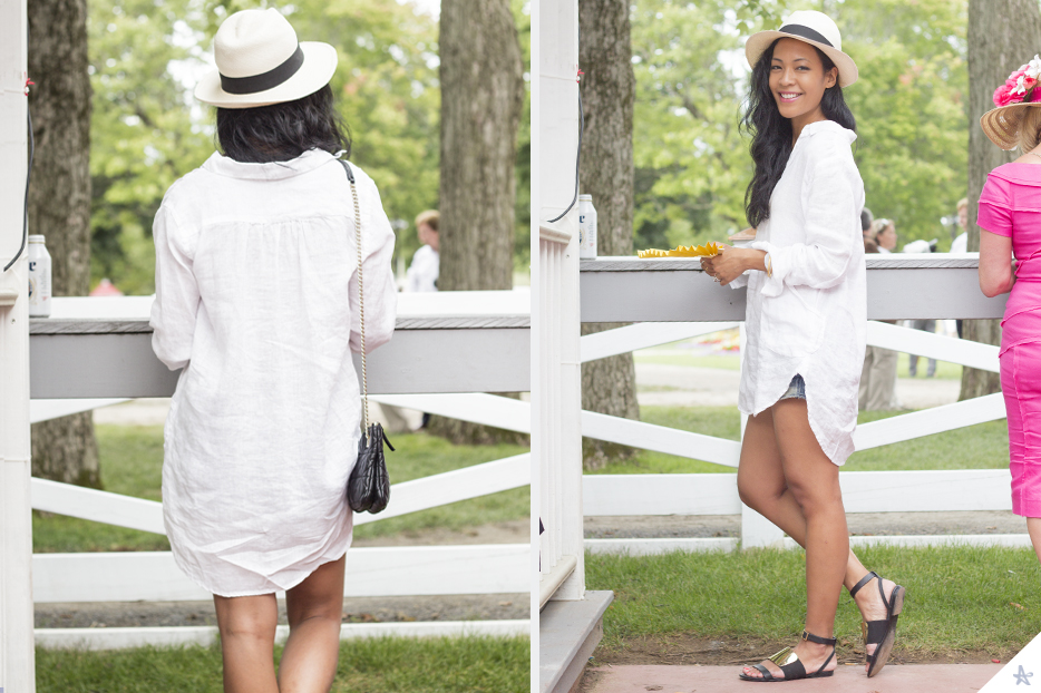 Hat; J. Crew.Shirt Dress: CP Shade. Sandals: See by Chloe. Bag: Kate Spade (old, but similar here.)