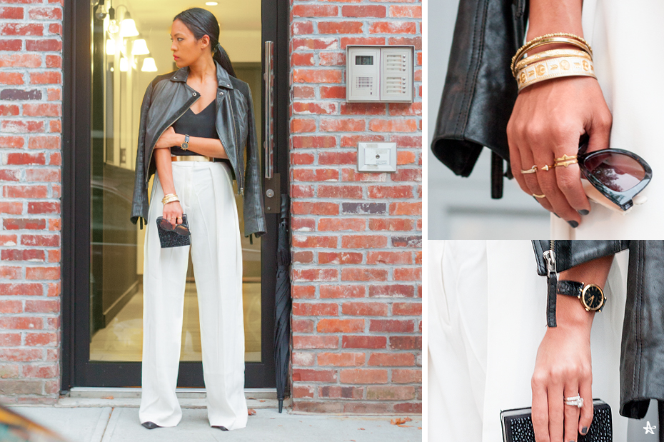 Jacket: Topshop (old, but similar here). Camisole: J. Crew (old, but similar here). Pants: By Malene Birger (old, but similar here). Clutch: Zara (old, but cute option here). Sunnies: Forever 21. Watch: Gucci (Vintage). Rings: Various. Bracelets: Various.