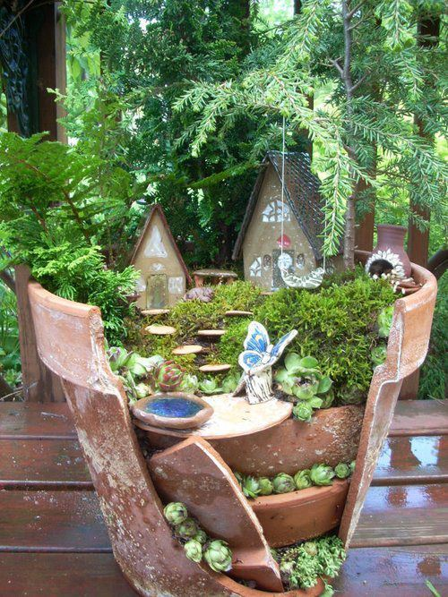 Broken Pot Fairy Garden with Succulents, hosted by Mother Nature 52