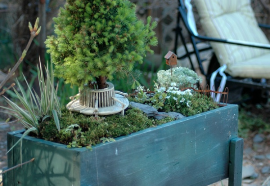 Wheelbarrow Fairy Garden by The Nester