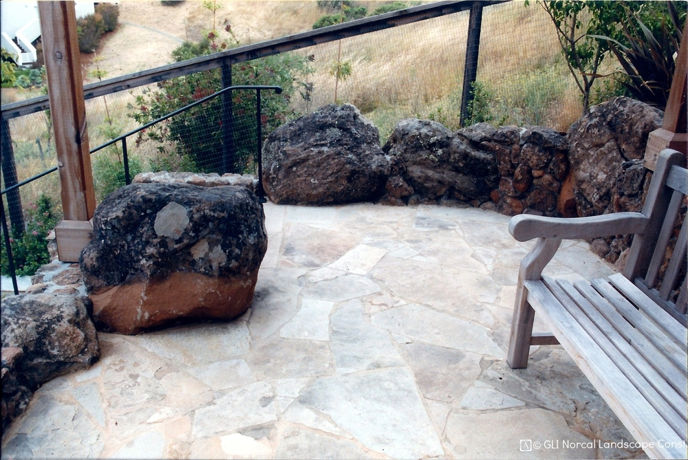 Unique boulder edging creates a special space