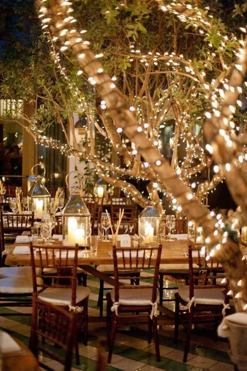 Beautiful outdoor lighting can instantly set a mood for your event