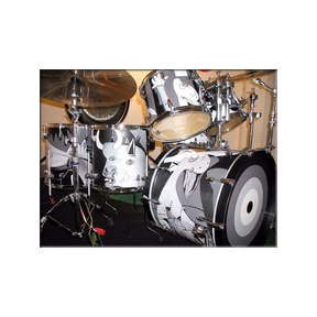 Prairie Prince-Picasso Guernica Drums custom drum design.  Kymara Artistic Management No use authorized without permission.   Contact  gallery for availability