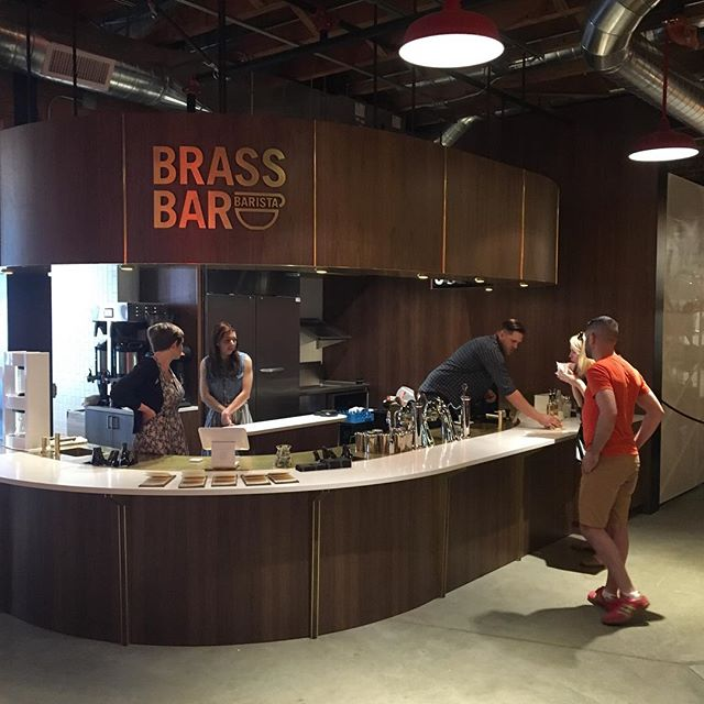 Welp - it's open @baristapdx. Had a tasty espresso there yesterday amidst the @pinestreetmarketpdx Sunday afternoon lunch rush. Excited to see the @modbar put through its paces and get some morning time here. #BrassBar