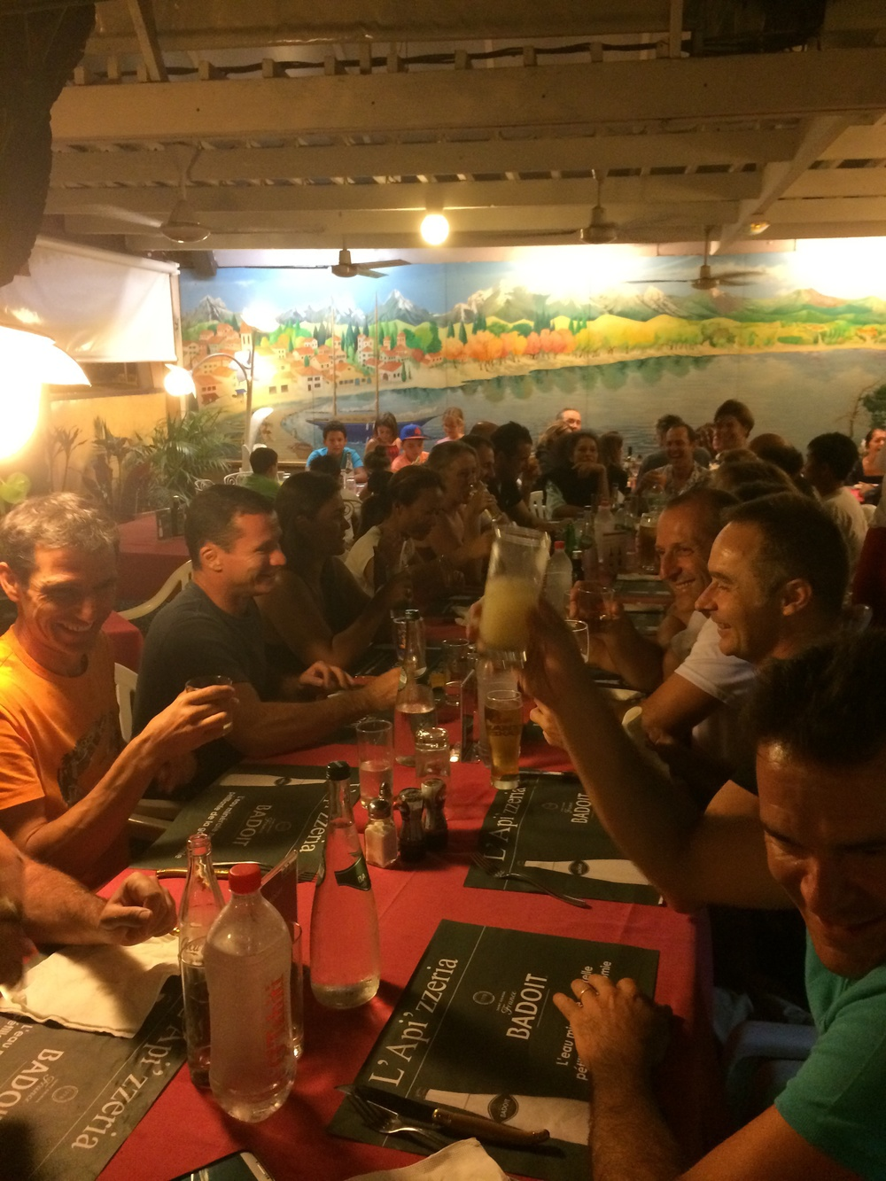 Dinner for 30 of the crew at the local spot, L'Apizzeria