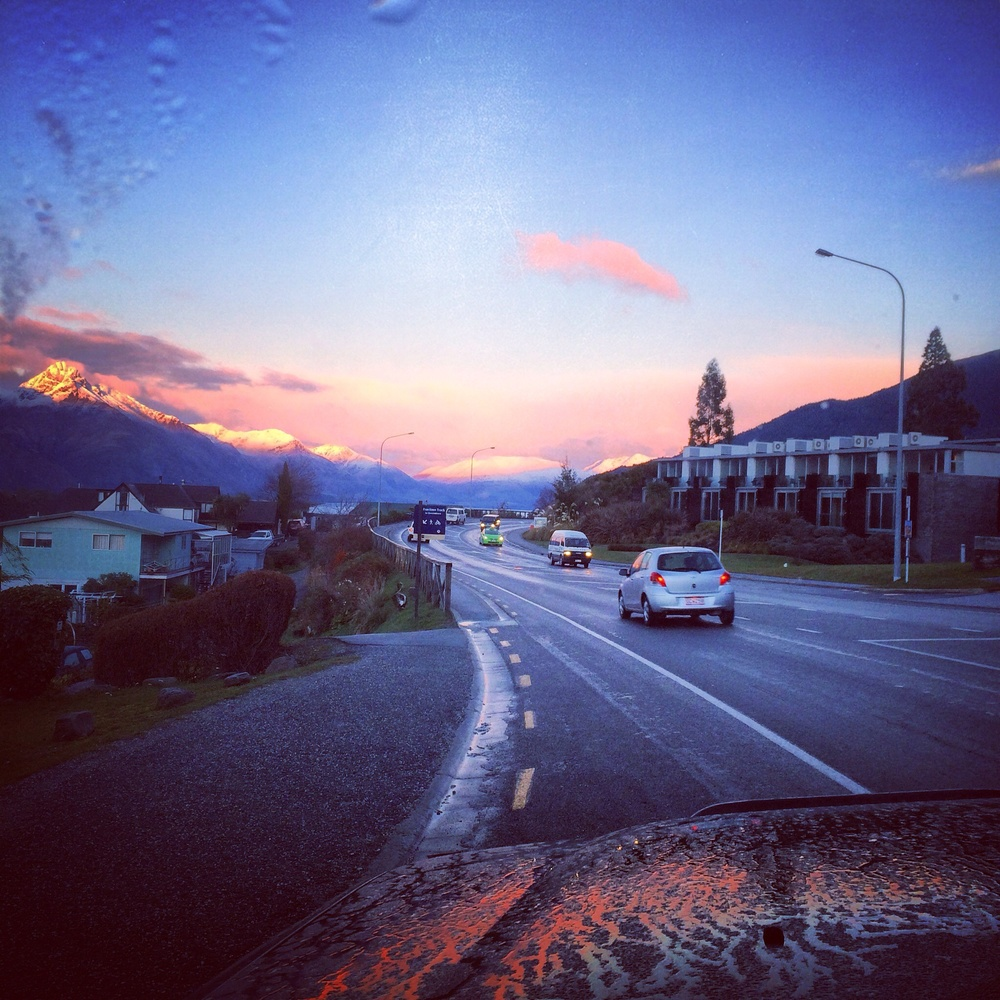 Driving to the Queenstown airport at the end of my tour through New Zealand