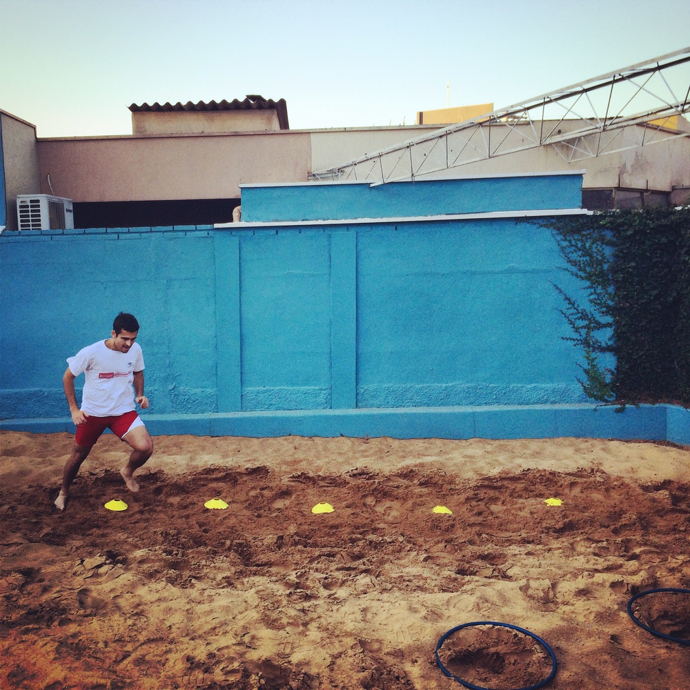 Sandbox running never felt so good- ankle rehab with Percoles, owner of Physio Athletic in Ribeirao Preto