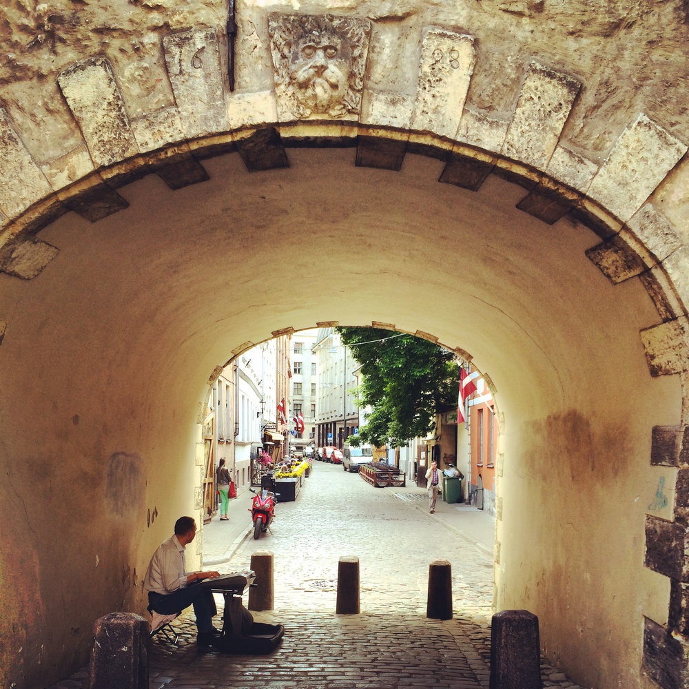 An old town at the end of the tunnel