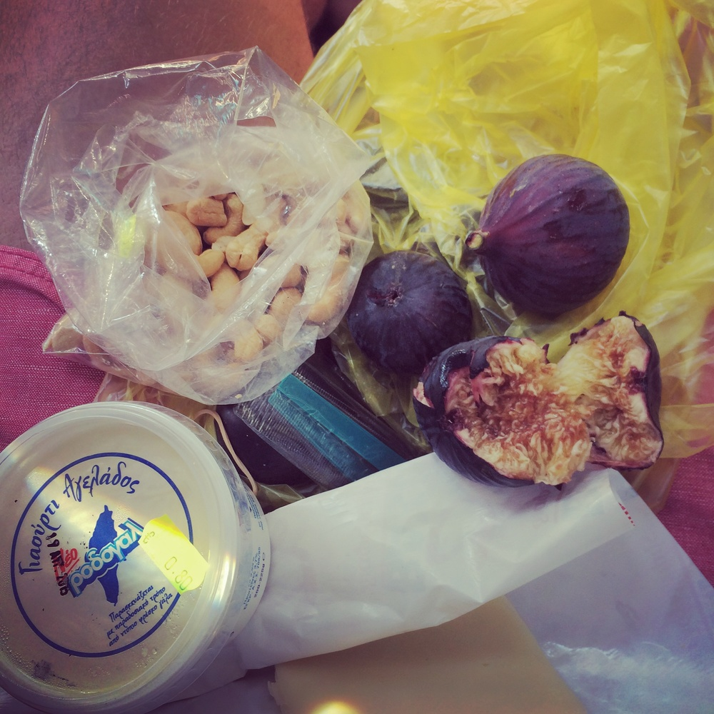 Figs nuts and feta- lunch on the go on the island of Rhodes