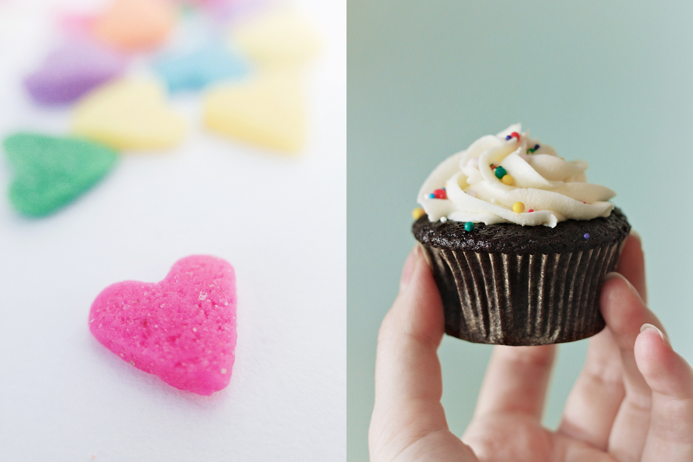 candy hearts and cupcake diptych.jpg