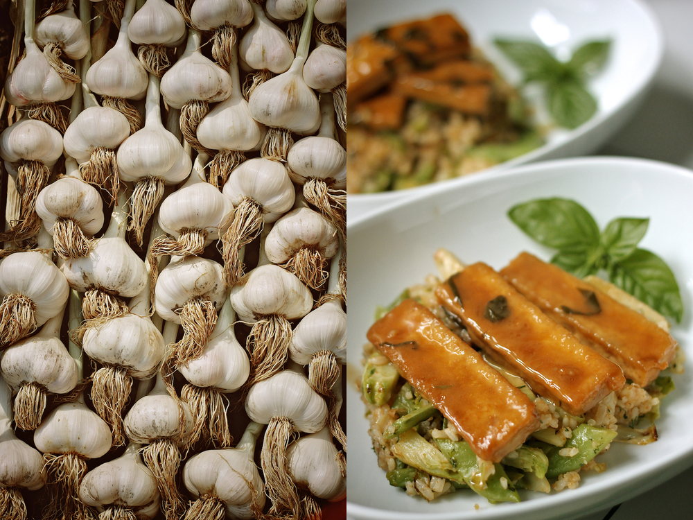 garlic heads and glazed tofu diptych.jpg