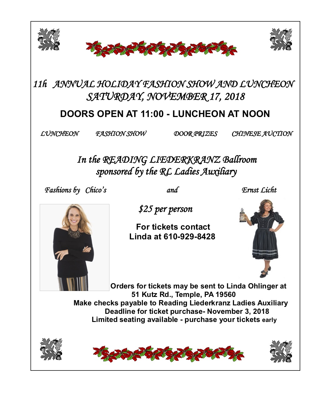 ladies auxiliary 11th annual holiday fashion show luncheon the reading liederkranz