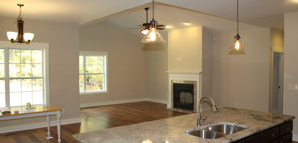 Concept Contracting & Design Custom Craftsman Home Living Area and Kitchen