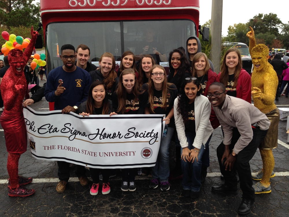 Here is a picture of me and several other Leadership Council members preparing to walk together in the 2013 FSU Homecoming Parade.