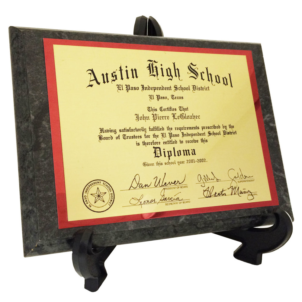 "Full Color Sublimation (5"" x 7"") Diploma (Stand Not Included)"