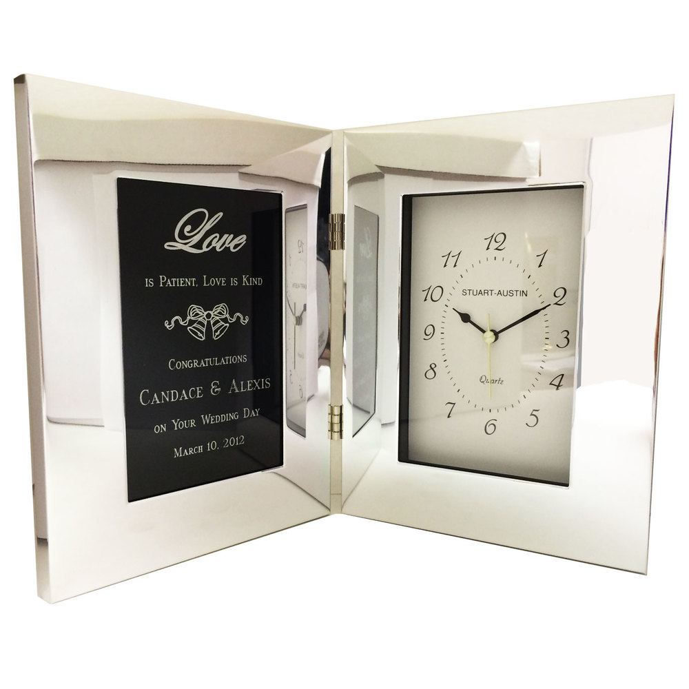 Polished Silver Aluminum Clock