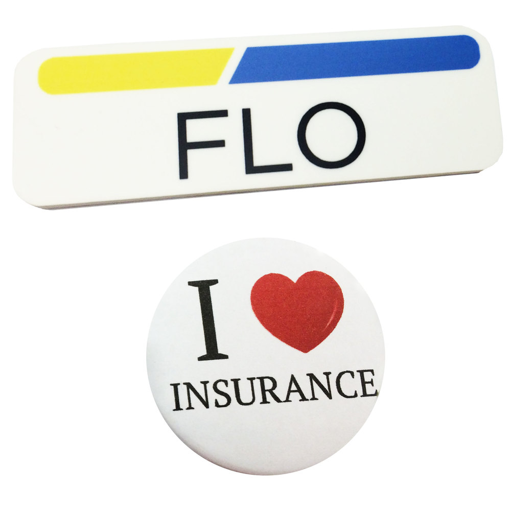 1 x 3 plastic flo name tag badge & button progressive insurance