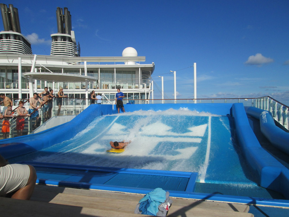 The FlowRider is a way to go surfing on board the ship! I wasn't brave enough to try it, but it looked like fun!