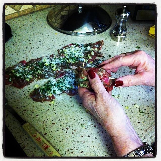 Making #braciole with mama! She's teaching me #ancientsecrets …