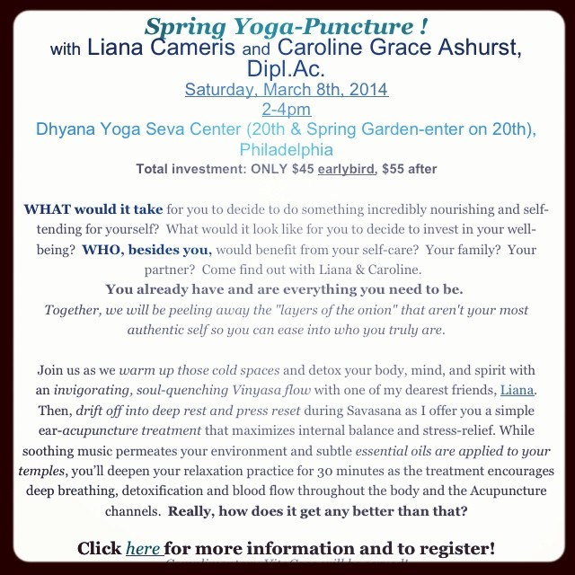 #yogapuncture at #dhyanayoga next saturday!! #Nourishthyself !!! Go to  www.dhyana-yoga.com  to register.
