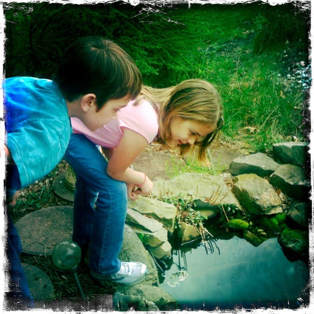 My #magical niece and nephew staring at papa's #pond (Taken with instagram)