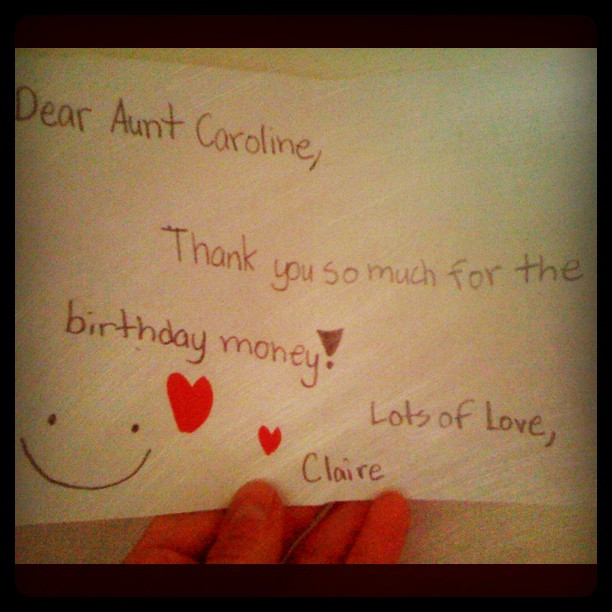 Nothin like a hand-written card from a niece to make my day  (Taken with  Instagram )